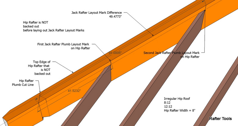 Jack rafter plumb layout marks on hip rafter